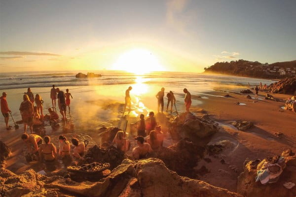 Hot-Water-Beach-at-sunset-Coromandel