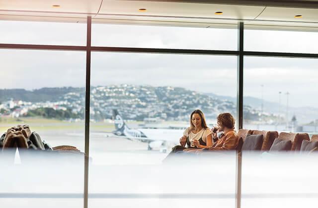 Air New Zealand couple in koru lounge