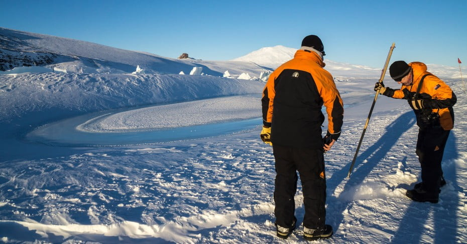 Test for ice cracks at Scott Base, Antarctica.