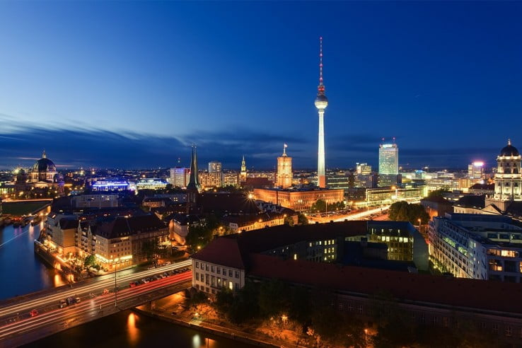 City at night, Germany, Berlin.