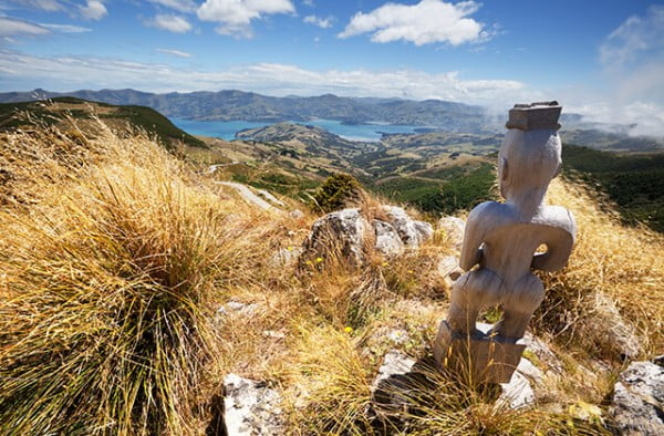 Māori god overlooking Akaroa Harbour, New Zealand.