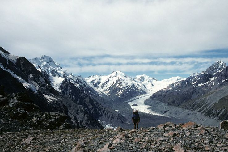 Hiking in Mt Cook National Park, South Island, New Zealand.