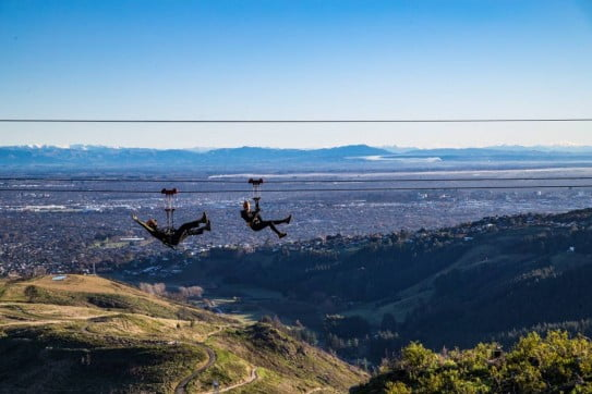 Ziplining high above Christchurch.