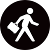 Air New Zealand man with bag icon.