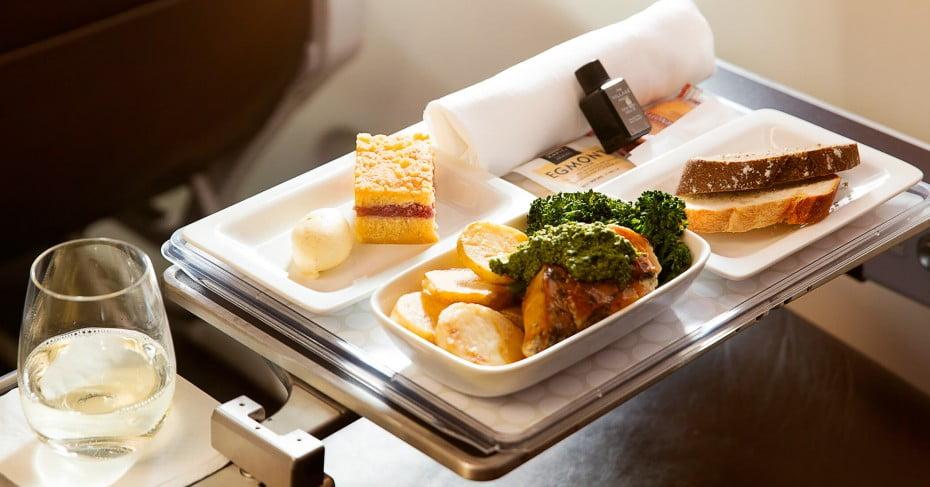 Air New Zealand Premium Economy meal.