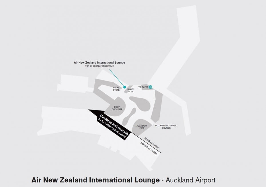 Map of Air New Zealand International Lounge at Auckland Airport