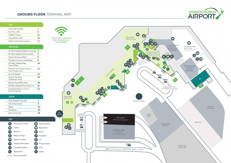 Christchurch Airport ground floor terminal map.