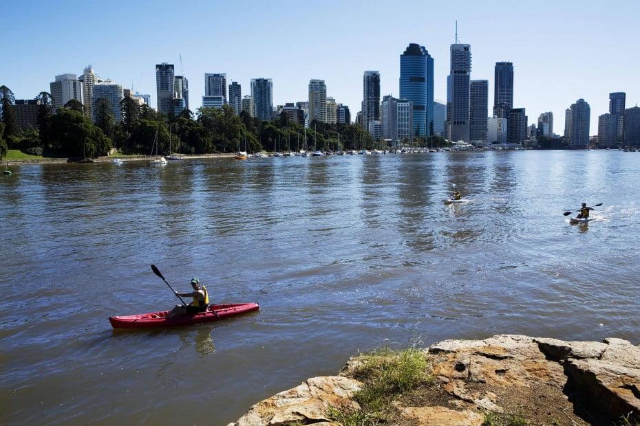 Kayaking on Brisbane River, Brisbane, AU.